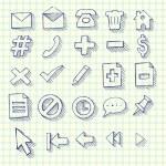 yarım yamalak doodle web bilgisayar Icon set — Stok Vektör