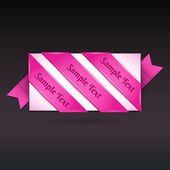 Carte de voeux de vecteur avec ruban rose. — Vecteur