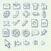 Sketchy Doodle Web Computer Icon Set — Stock Vector