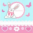 Greeting Birthday Card with Cute Bunny — Imagen vectorial