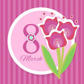Women's day vector greeting card with flowers — Stockvector