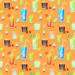 Vector seamless pattern with cocktails — Stock Vector