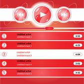 Media player interface design — Stock Vector