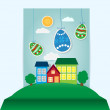 Vector easter scene with paper eggs and house — Stock Vector #21375929