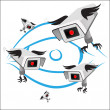 Vector surveillance cameras with wings — Stock Vector