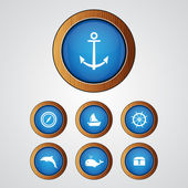 Vector sea icon set — Stock Vector