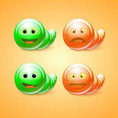 Green and orange funny worms — Stock Vector