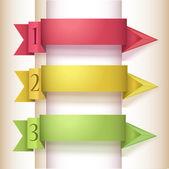 Banner de opciones número de origami colorido estilo — Vector de stock