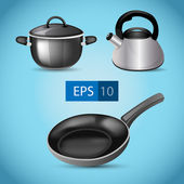 Pot, kettle and frying pan vector — Stock Vector