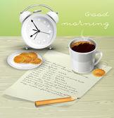 Morgon tabell för frukost — Stockvektor