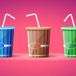 Three plastic containers with straws — Stockvectorbeeld