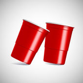 Red plastic cups. — Stock Vector