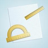 Paper with ruler. — Stockvektor