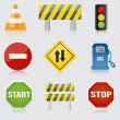 Road and highway signs. Vector — Vettoriali Stock