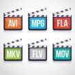 File type icons in slapsticks: video set. — Stock Vector #22144915