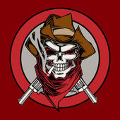 Vector illustration of cowboys skull — Stock Vector