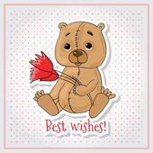 Greeting card with bear. — Stock Vector