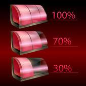 Icone batterie vettore rosso — Vettoriale Stock