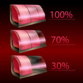 Vector iconos rojos baterías — Vector de stock
