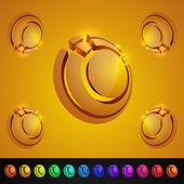 Abstracto 3d icono brillante conjunto — Vector de stock