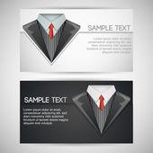 Cartes de visite avec costume élégant. — Vecteur