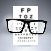 Vector test alfabet met glazen. — Stockvector