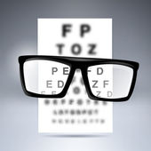 Vector test alphabet with glasses. — Stockvektor