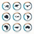 Vector globe icons showing earth with all continents. — Stock Vector