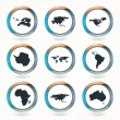 Stock Vector: Vector globe icons showing earth with all continents.
