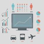 социальные сети Инфографика набор, дизайн в стиле ретро — Cтоковый вектор