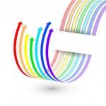 Vector arrow from the rainbow stripes — Stock Vector