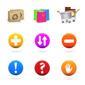 Vector collection of shopping and commerce icons — Stock Vector