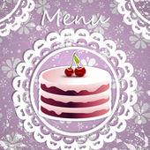 Yummy Cherry Cake! — Stock Vector