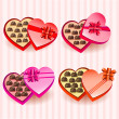 Set of heart valentine chocolate boxes — Stock Vector