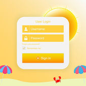 Vector login form with sunny background — Vecteur