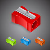 Set of plastic colored pencil sharpeners — Stock Vector