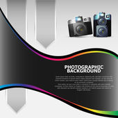 Vector photographic background with cameras — Stock Vector