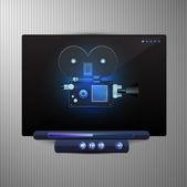 Media video black player — Stock Vector