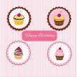 Happy Birthday cupcake card — Stock Vector