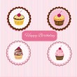 Happy Birthday cupcake card - Stock Vector