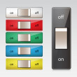 Set of switches shown in both on and off positions. — Stock Vector #22625061