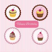 Happy Birthday cupcake card — Stock Vector