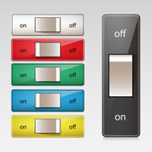 Set of switches shown in both on and off positions. — Stock Vector