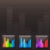 Vector colored music spectrum set — Stock Vector