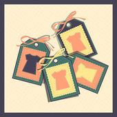 Tag di carta con t-shirt — Vettoriale Stock