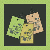 Paper floral tags — Stock Vector