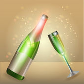 Glass of champagne and bottle — Stock Vector