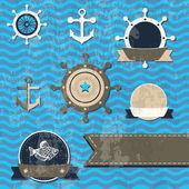 Vector vintage set - Sea fauna, Marine things — Stock Vector