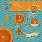 Vector set - Sea fauna, Marine things — Stock Vector