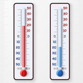 Red and blue thermometers — Stock Vector